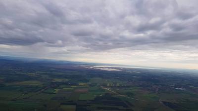 Fertő tó látképe hőlégballonból